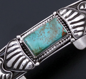 Tsosie Orville White (Navajo) - Royston Turquoise & Sterling Silver Stamped Cuff Bracelet #43748 $350.00
