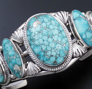 Roie Jaque (Navajo) - Five Stone Baby Aqua Turquoise & Sterling Silver Ornate Cuff Bracelet #43893 $1,020.00