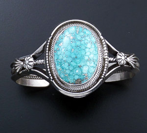 Roie Jaque (Navajo) - Oval Baby Aqua Turquoise & Sterling Silver Split Wire Cuff Bracelet #44334 $825.00