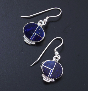 Supersmith Inc. - David Rosales Designs - Blue Water Inlay & Sterling Silver Oval Drop Earrings #12086 Style ER030 $145.00