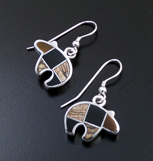Supersmith Inc. - David Rosales Designs - Small Native Earth Inlay & Sterling Silver Bear Dangle Earrings #14015 Style ER257 $150.00