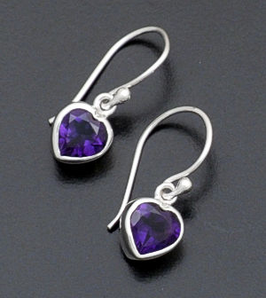 acleoni - Heart Shaped Amethyst & Sterling Silver Dangle Earrings #15705 $60.00