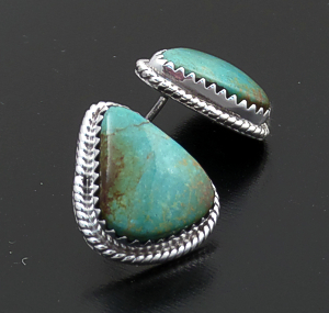 Judy Largo (Navajo) - Turquoise & Sterling Silver Wide Teardrop Earrings #15994A $80.00