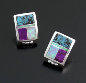 Supersmith Inc. - David Rosales Designs - Shalako Curved Rectangle Sterling Silver Inlay Earrings #16274 Style ER260 $160.00