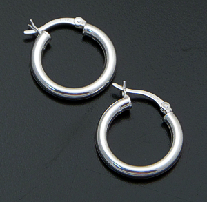 Small 20mm Sterling Silver Hinged Tube Hoop Earrings #17776 $20.00