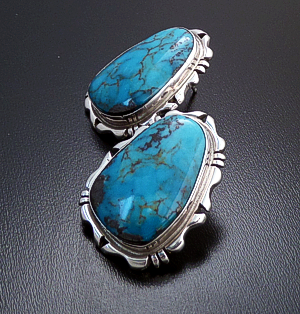 Marie Bahe (Navajo) - Turquoise & Sterling Silver Cut & File Earrings #1876 $175.00