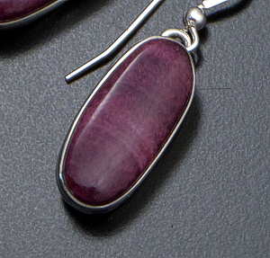 Navajo - Oval Purple Spiny Oyster Shell & Sterling Silver Dangle Earrings #18999 $100.00