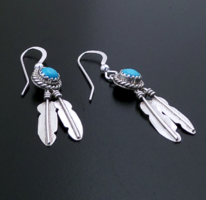 Navajo - Turquoise & Sterling Silver Double Feather Dangle Earrings #19020 $40.00
