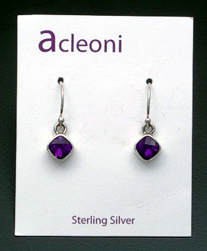 acleoni - Small Square Amethyst & Sterling Silver Dangle Earrings #19827 $55.00