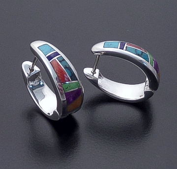 Supersmith Inc. - David Rosales Designs - Indian Summer Inlay & Sterling Silver Huggie Hoop Earrings #20106 Style ER307 $265.00
