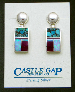 Supersmith Inc. - David Rosales Designs - Shalako Inlay & Sterling Silver Rectangle Post Dangle Earrings #20309 Style ER082 $240.00