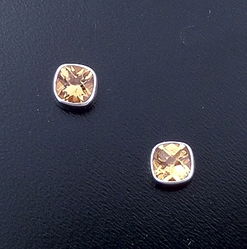 Acleoni - Small Cushion Cut Citrine & Sterling Silver Square Stud Earrings #22046 $60.00