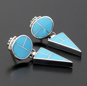 Supersmith Inc. - David Rosales Designs - Arizona Blue Inlay & Sterling Silver Geometric Earrings #24778 Style ER415 $255.00