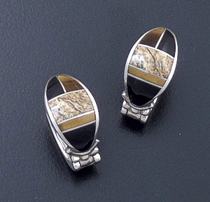 Supersmith Inc. - David Rosales Designs (Navajo) - Native Earth Inlay & Sterling Silver Oval Huggie Hoop Earrings #24786 Style ER331 $240.00