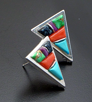 Lynol Yellowhorse (Navajo) - Vintage Multistone Cobble Inlay & Sterling Silver Triangle Earrings #25221 $490.00
