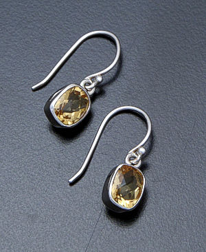 acleoni - Small Faceted Rectangle Citrine & Sterling Silver Dangle Earrings #25536 $75.00