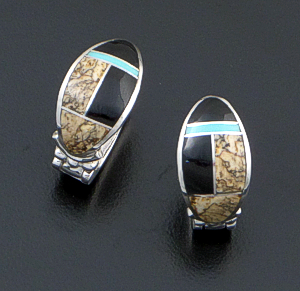 Supersmith Inc. - David Rosales Designs - Turquoise Creek Oval Sterling Silver Cuff Huggie Hoopp Earrings #26907 Style ER331 $240.00