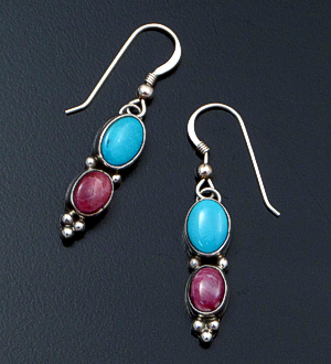 Navajo - Turquoise & Purple Spiny Oyster Shell Double Oval Sterling Silver Dangle Earrings #27233 $90.00