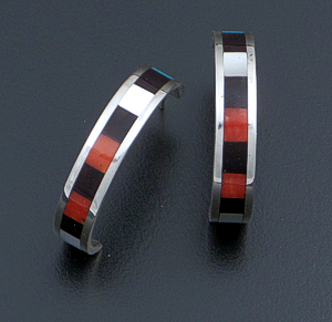 Roben Chavez (Zuni) - Multistone Inlay & Sterling Silver Hoop Earrings #29291A $90.00