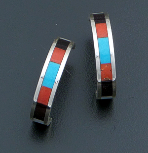 Roben Chavez (Zuni) - Multistone Inlay & Sterling Silver Hoop Earrings #29291B $90.00