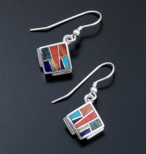 Supersmith Inc. - David Rosales Designs - Indian Summer Inlay & Sterling Silver Square Dangle Earrings #29688 Style ER8000 $155.00
