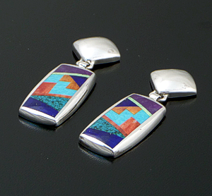 Supersmith Inc. - David Rosales Designs - Indian Summer Fancy Inlay & Sterling Silver Rectangle Tab Post Dangle Earrings #31103 Style ER022F $325.00