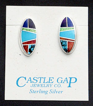 Supersmith Inc. - David Rosales Designs - Indian Summer Oval Inlay Sterling Silver Earrings #33053 Style ER609 $240.00