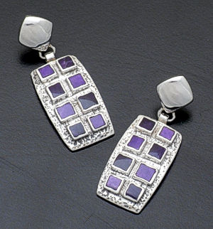 Supersmith Inc. - David Rosales Designs - Plum Crazy Rectangular Windowpane Sterling Silver Inlay Earrings #33058 Style ER161 $280.00
