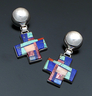 Lynol Yellowhorse (Navajo) - Vintage Four Corner Multistone Inlay & Sterling Silver Button Post Dangle Earrings #33852 $475.00