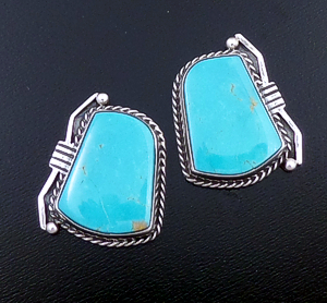 L.T. (Leonard) Chee (Navajo) - Tapered Rectangular Turquoise & Sterling Silver Accented Earrings #39921 $180.00