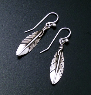 Lena Platero (Navajo) - Small Intricate Sterling Silver Feather Dangle Earrings #34512 $65.00