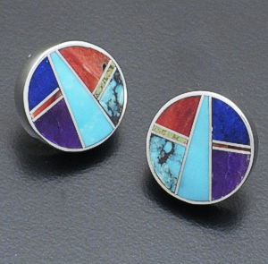 Supersmith Inc. - David Rosales Designs - Indian Summer Round Inlay & Sterling Silver Earrings #34561 Style ER509 $195.00