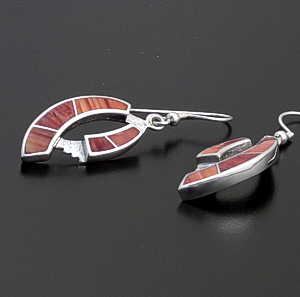 Supersmith Inc. - David Rosales Designs - Desert Fire Inlay & Sterling Silver Double Ribbon Dangle Earrings #34564 Style ER060 $235.00