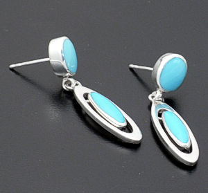 acleoni - Double Oval Turquoise & Sterling Silver Earrings #35226 $140.00