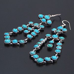 Emma Lincoln (Navajo) - Long Turquoise & Sterling Silver 20 Stone Chandelier Dangle Earrings #35584 $315.00