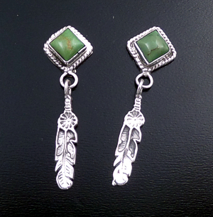 Roger Pino (Navajo) - Green Turquoise & Sterling Silver Feather Dangle Earrings #35626 $35.00