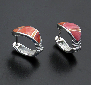 Supersmith Inc. - David Rosales Designs - Desert Fire Inlay & Sterling Silver Oval Huggie Hoop Earrings #35901 Style ER331 $265.00