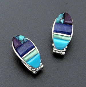 Supersmith Inc. - David Rosales Designs - Spring Mountain Cobble Inlay Sterling Silver Huggie Hoop Earrings #36032 Style ER331 $260.00