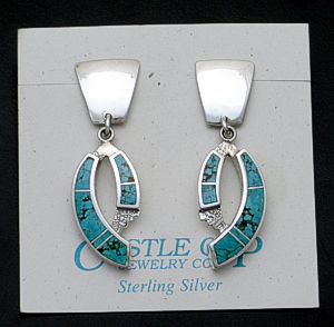 Supersmith Inc. - David Rosales Designs - #8 Turquoise Sterling Silver Double Curve Earrings #36119 Style ER060 $265.00