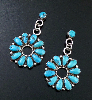 Navajo - Turquoise & Sterling Silver Traditional Round Cluster Post Dangle Earrings #36431 $245.00