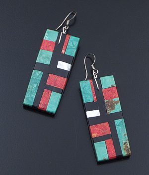 Lupita Calabaza (Santo Domingo) - Large Rectangular Multistone Inlay Dangle Earrings #37105 $60.00