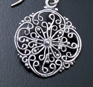 Filigree Disk Oxidized Sterling Silver Dangle Earrings #37430 $40.00