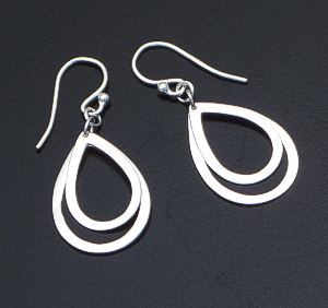 Sterling Silver Double Teardrop Dangle Earrings #38258 $25.00
