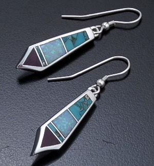 Supersmith Inc. - David Rosales Designs - Shalako Inlay & Sterling Silver Angular Teardrop Dangle Earrings #38405 Style ER012 $150.00
