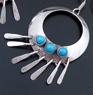 L.T. (Leonard) Chee (Navajo) - Turquoise Accented Open Sterling Silver Ring & Fringe Dangle Earrings #38640 $75.00