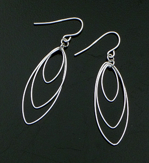 Delicate Triple Ellipse Sterling Silver Dangle Earrings #38701 $25.00