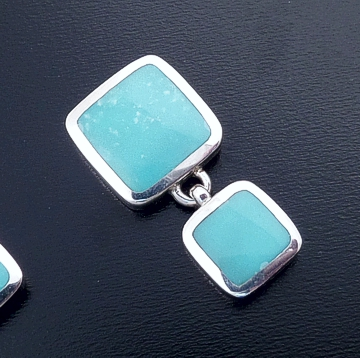 acleoni - Turquoise & Sterling Silver Double Square Earrings #38805 $135.00