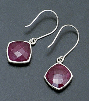 acleoni - Ruby & Sterling Silver Square Dangle Earrings #38806 $90.00