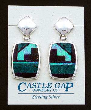 Supersmith Inc. - David Rosales Designs - Shalako Inlay Large Rectangular Tab & Sterling Silver Dangle Earrings #39372 Style ER225 $360.00