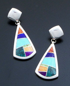 Supersmith Inc. - David Rosales Designs - Indian Summer Inlay & Sterling Silver Large Teardrop Dangle Earrings #39374 Style ER840 $275.00